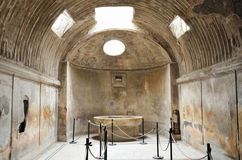 Inside of the ancient thermae. Restored Roman thermae is photographed indoors stock photography