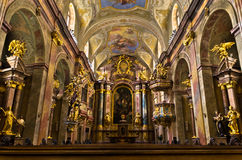 Inside Anna's kirche, beautiful small baroque church at Vienna downtown Royalty Free Stock Photography