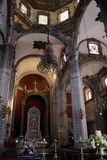 Inside the antique Basilica of Guadalupe royalty free stock photos