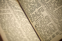 Inside of antique bible. Selective focus Stock Image