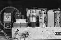 Inside an Antique Radio Set. Antique Radio Set Complete with Vacuum Tube stock photos
