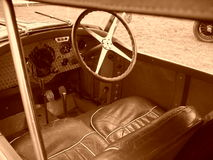 Inside antique sports car Stock Images