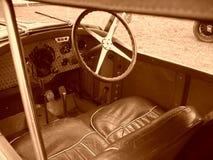 Inside antique sports car Stock Images