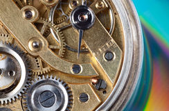 Inside an antique watch. Macro view on the interior of an antique pocket watch Stock Photography