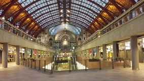 Inside of the Antwerp Central Trainstation. The inside of the historical Antwerp Central Trainstation, one of the most beautiful railway stations in the world Royalty Free Stock Photos