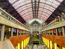 Inside of the Antwerp Central Trainstation Stock Photography