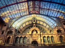 Inside of the Antwerp Central Trainstation. The inside of the historical Antwerp Central Trainstation, one of the most beautiful railway stations in the world Stock Photography