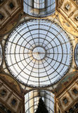 Inside the Arcade with a glass roof and steel  in Milan Italy Royalty Free Stock Image