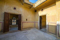 Inside architecture at amber fort jaipur rajasthan india