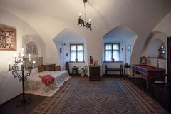 Inside architektoniczny szczegół otręby kasztel od Rumunia, także znać jako Dracula kasztel obrazy stock