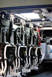 Inside an Armored personnel carrier car. Inside view of an armored personnel carrier car stock images