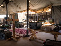 On the inside a army tent Royalty Free Stock Images