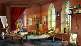 Inside the Artist's Studio. Digital Painting in Realistic Cartoon Style vector illustration