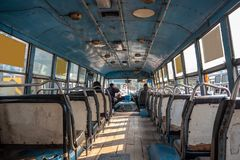 Inside of asian bus with empty seats stock photo