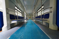 Inside assembled metro coach in shop floor Royalty Free Stock Image
