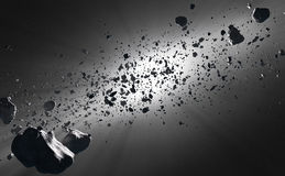 Inside the Asteroid Belt against the sun Royalty Free Stock Photos