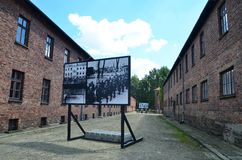 Inside of Auschwitz concentration camp Stock Photos