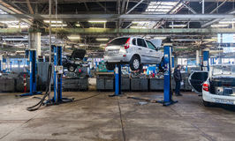 Inside in the auto repair service station of the official dealer Stock Photo