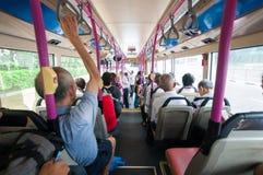 Inside autobusowy widok od plecy Obrazy Royalty Free