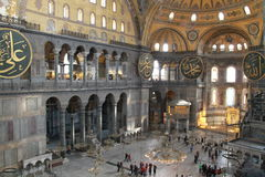 Inside Aya Sophia from the 2-nd floor in Istanbul, Turkey Stock Image