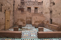 Inside the Bab Agnaou palace in Marrakesh, Morocco Royalty Free Stock Photos