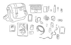 Inside Bag hand drawing illustration Stock Image