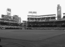 Inside the ballpark. Early morning, on the field with the excitement about to begin Stock Photography