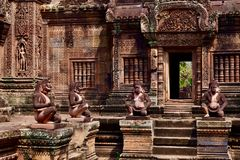 Inside of Banteay Srei stock images
