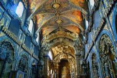 Inside baroque church of Santa Clara. Oporto, Portugal royalty free stock photos