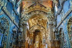 Inside baroque church of Santa Clara royalty free stock images