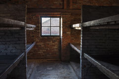 Inside a Barrack in Auschwitz II–Birkenau concentration camp, Poland. Construction on Auschwitz II-Birkenau began in October 1941 to ease congestion at the Stock Images
