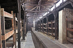 Inside of barrack in concentration camp Auschwitz, Brzezinka, Poland Stock Images