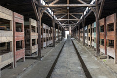 Inside of barrack in concentration camp Auschwitz, Oswiecim, Poland Stock Images