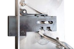 Inside of a basic sample door lock with key Stock Photos