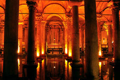 Inside of Basilica Cistern, Istanbul, Turkey Royalty Free Stock Images