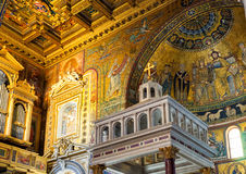 Inside the Basilica of Santa Maria in Trastevere in Rome Stock Photo
