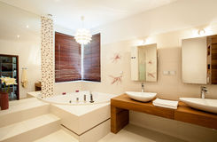 Inside the bathroom. Inside the luxury stylish bathroom Royalty Free Stock Photography