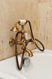 Vintage golden shower insde bathroom Stock Images
