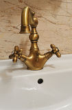 Vintage battery water tap. Vintage accessories of residence luxury bathroom Stock Images