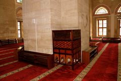 Inside the Bayezid II Mosque. The Beyazidiye Camii was commissioned by Ottoman Sultan Bayezid II, and was the second large imperial mosque complex to be erected royalty free stock photography