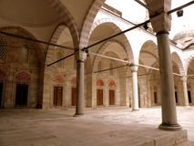 Inside the Bayezid II Mosque 2. The Beyazidiye Camii was commissioned by Ottoman Sultan Bayezid II, and was the second large imperial mosque complex to be royalty free stock image