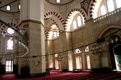 Inside the Bayezid II Mosque. The Beyazidiye Camii was commissioned by Ottoman Sultan Bayezid II, and was the second large imperial mosque complex to be erected Stock Image