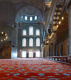 Inside the beautiful Blue Mosque in Istanbul Royalty Free Stock Photos