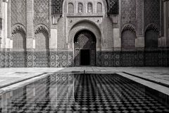Inside Ben Yousseff Mosque in Marrakech royalty free stock photography