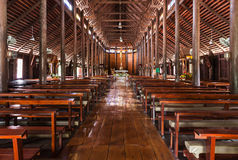 Inside biggest old wooden church in Thailand. Royalty Free Stock Photo