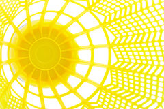 Inside of a birdie. The view of the inside of a bright yellow badminton shuttlecock Stock Image