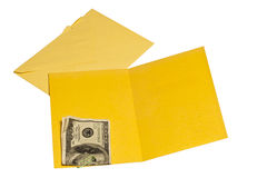 Inside Blank Yellow Greeting Card With Hundred Dollar Bill Royalty Free Stock Photos
