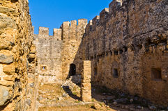 Inside bloody castle and fortress of Frangokastello, island of Crete Royalty Free Stock Photos