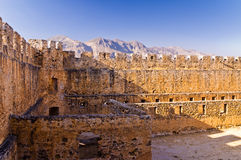 Inside bloody castle and fortress of Frangokastello, island of Crete Royalty Free Stock Photo
