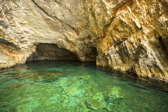 Inside Blue caves on Zakynthos island in Greece. Nature. Royalty Free Stock Photography